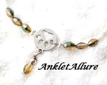 DOG PAW Ankle Bracelet Miss My Dog Anklet Stainless Steel Anklets for Women Sand Crystals