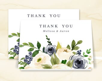 Thank You Card, Thank You Note, Printable Thank You Note Cards, Navy, Cream, Florals | PRINTABLE or PRINTED