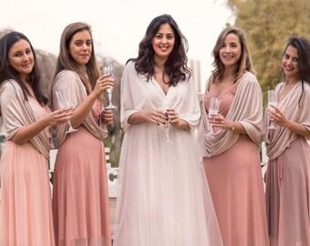Brautjungfern-Tücher, Hochzeits-Set von 5. Hochzeit Braut vertuschen, Beige Schal, Braut Schal, Cover Ups, Brautjungfern Wraps, bescheidene Hochzeit Schal