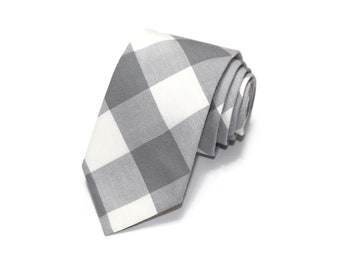 Gray Buffalo Plaid Necktie~Anniversary Gift~Wedding Tie~Boys Necktie~Mens Necktie~Wedding~Mens Tie~Boys Tie~Mens Gift ~Gray Gingham