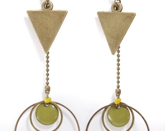 "Earrings etniques and long ""Senja"" mustard yellow and khaki with triangle and large rings"