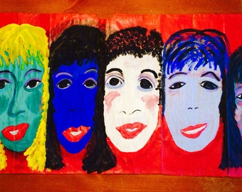 Six FACES ON RED original painting. By NitA reduced 1/2 price