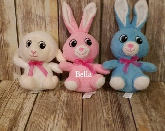 Personalized  Easter Bunny or Lamb Stuffed Animals with Name. Blue or Pink Bunny 9 inches or White lamb 6 inches
