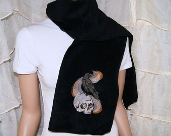 Quoth the Raven  Poe and Skull Smoke Embroidered Black Scarf poem poetry MTCoffinz