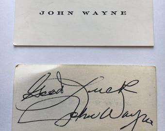 John Wayne Autographed Business Card