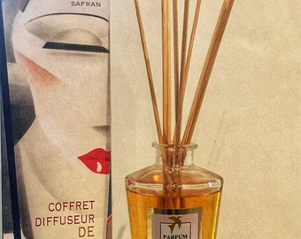 Honeysuckle FRAGRANCE DIFFUSER & linen 100% handmade, luxury home fragrance - box scent with sticks made in france gift