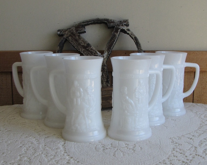 Milk Glass Beer Steins Set of Six (6) German Bar Scene Mugs Federal Glass Co. Vintage Barware
