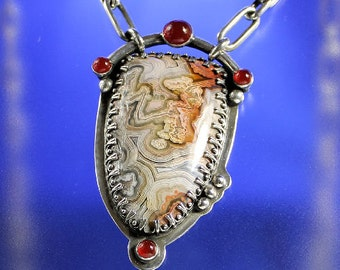 Crazy Lace Agate Handcrafted Pendant Sterling Silver