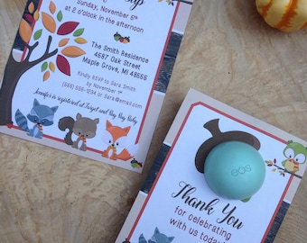 Woodland creatures baby shower invitation, 5x7 printable, EOS lip balm party favor, fall, autumn, fox, squirrel, raccoon, owl, tree, acorns