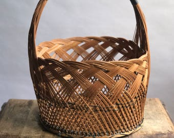 Large Woven Reed Basket with Leather Wrapped Handle