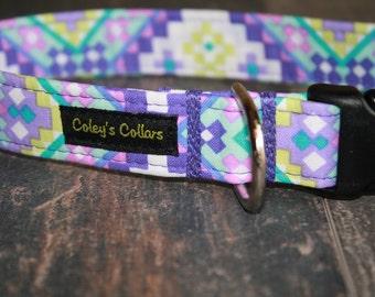 "Dog Collar Aztec, Dog Collar, Dog Collars, Boy Dog Collar, Girl Dog Collar, Custom Dog Collar, Purple Dog Collar, ""The Aztec in Purple"""