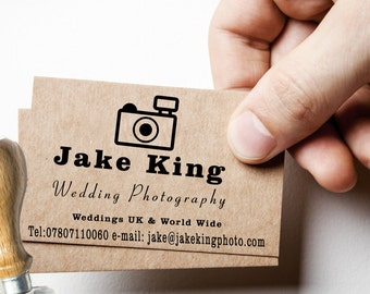 PHOTOGRAPHERS STAMP, Photographers Business Card Stamp, Leave your mark everywhere and on Anything.
