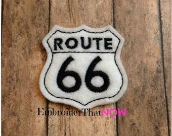 Instant DIGITAL download Route 66 Feltie appliqué embellishment - Exclusive - for hotrod, pinup, vintage, classic and car club
