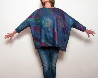 Nuno Felting Tunic, Wool Silk Clothing for Women, Blue, Purple, Green, Felt Fashion Clothing, Nuno Felted  Dress for Girl