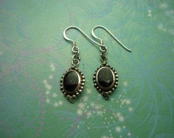 Vintage Sterling Silver Earrings - Black Onyx - 925 Hallmarked - Style 32