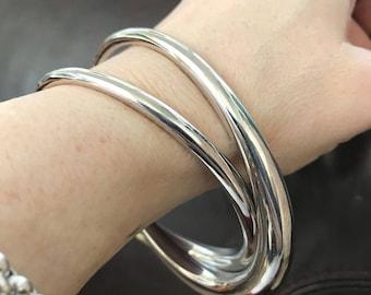 Vintage Solid Silver Entwined Bangle Bracelet