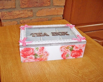 Pink flowers 6 compartments tea box