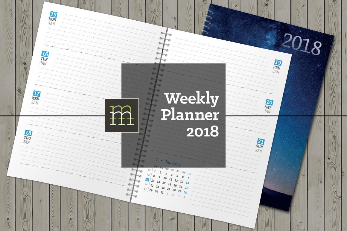 Druckbare wöchentlichen Kalender 2018 InDesign Vorlage