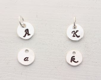 ADD Swarovski Birthstone OR Initial on sterling silver disc to your jewelry