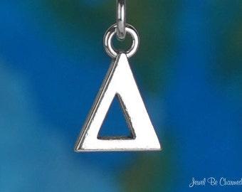 Solid Sterling Silver Greek Letter Delta Charm Fraternity Sorority 925