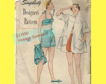1950s Beach Outfit 2-piece Bathing Suit Swing Beach Coat Pockets Simplicity Designer's Pattern Oversize Envelope