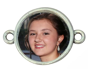 BULK 25 Round Photo Charm Bezel Blank for Bracelet Photo Jewelry Making 19x26mm by TIJC SP1215B