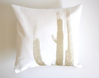 Desert Cactus Throw Pillow Tan and White Cactus Pillow Saguaro Print Desert Home Decor Modern Southwest