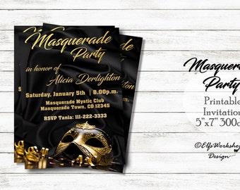 Masquerade party, Masquerade invitation, Black masquerade invitation, Black satin invite, Bal Masqué, Masquerade ball invite, Costume party