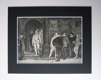 1882 Antique John Seymour Lucas Print - Antique Victorian Art - Elizabethan Historical Picture - English Gift - Victorian Engraving Print