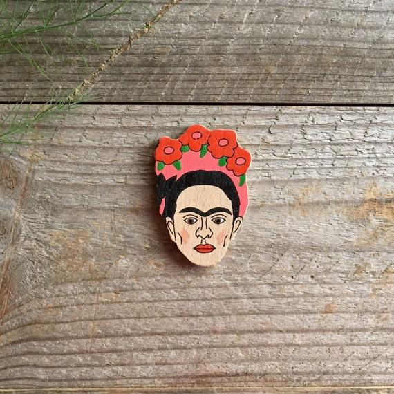frida kahlo kunst pin bloem houten broche broche van de. Black Bedroom Furniture Sets. Home Design Ideas