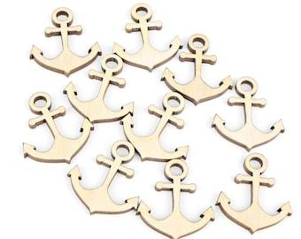 "Set of 10pcs. (1"") Mini Wooden Anchor Shape Ornaments Craft Decoration Gift Decoupage Unpainted Laser Cut MG000023"