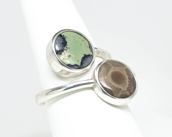 Petoskey Stone and Frankfort Green Sterling Silver Ring - Size 8 1/4
