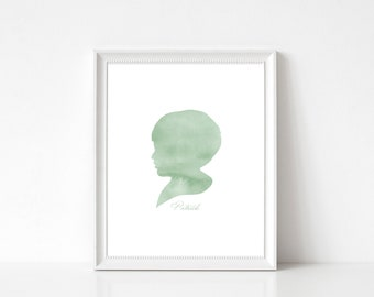 16 Color Options, Custom Silhouette, Watercolor Silhouette, Child Silhouette, Silhouette, Children Silhouette, Custom Portrait, Personalized