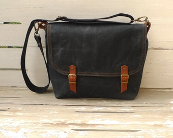Black Waxed Canvas Messenger Bag Single Cotton Strap Shoulder bag / Cross Body Messenger