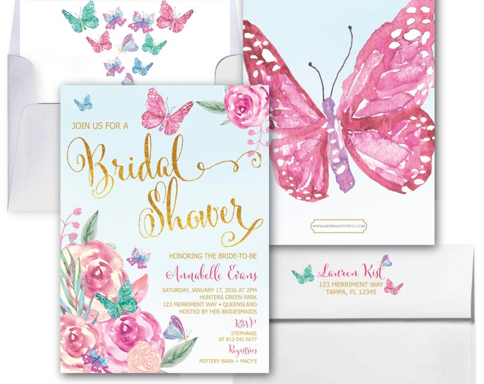 Butterfly Bridal Shower Invitation // Butterflies // Bridal Shower invitation / Butterfly / Gold / Floral / Watercolor / VICTORIA COLLECTION