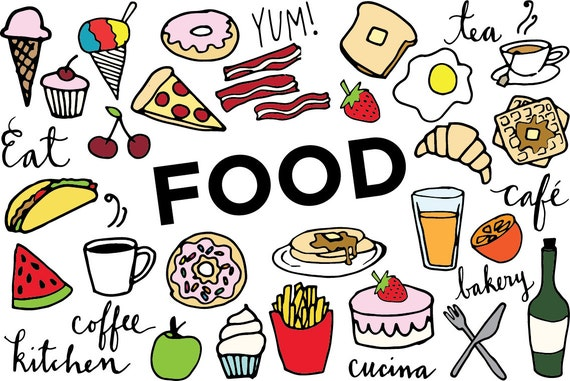 food clip art hand drawn clip art food collage sheet desserts rh etsystudio com clipart food and drink clipart food on table free