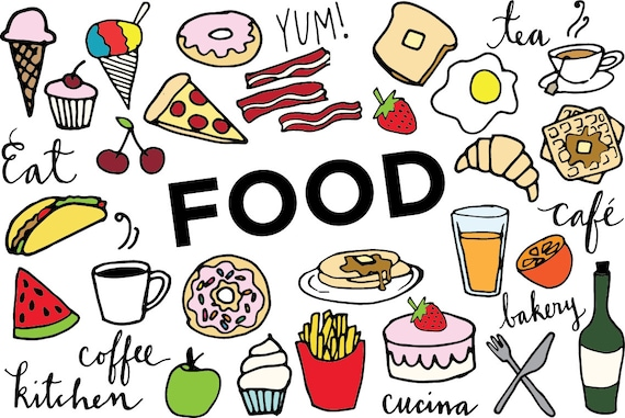 food clip art hand drawn clip art food collage sheet rh etsy com food chain clipart black and white food chain clipart black and white