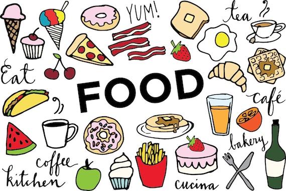 food clip art hand drawn clip art food collage sheet rh etsy com food chain clipart food chain clip art/free