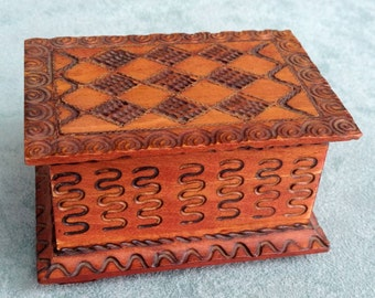 Tiny Jewelry Box, Decorated hand carved wood,