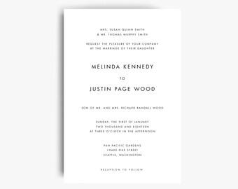 Minimalist Wedding Invite, Printable Invitations, Wedding Invitation Templates, Modern Wedding Invitation, Printable Wedding Cards