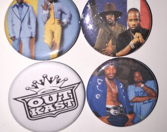 Set of 4 Outkast Buttons - Big Boi Andre 300 Atlanta hip hop Stankonia - Ms. Jackson Hey ya