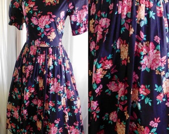 "Laura Ashley Dress Black & Pink Orange Floral Print Puff Sleeves - Full Skirt - Square Bodice- Vintage 1980s US  12 38"" Bust"