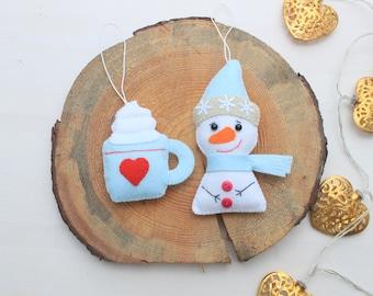 Christmas ornament Felt Snowman ornament stocking stuffer christmas decoration christmas Tree decor Felt cup ornament Christmas gift