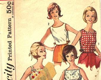 Bateau Neck Blouse Bust 32 Simplicity 4999 Vintage Sewing Pattern