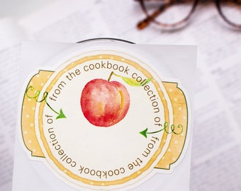 peach cookbook bookplates - culinary bookplate stickers - gifts for foodies - gifts for cooks  - personalized gift - custom book plates