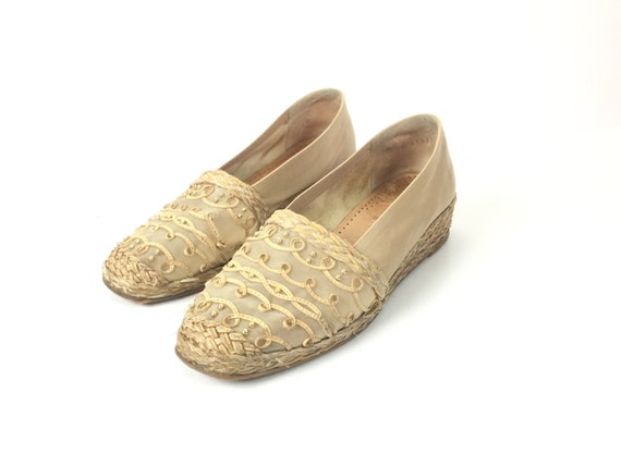 on tan 7 slip size heel Stuart toe flat espadrille wedge beige boho leather bohemian 7 closed designer nude womens low weitzman AOqPwxY