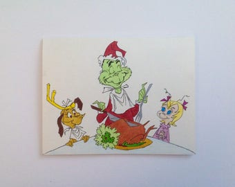 Carving the roast beast Christmas greeting cards - hand drawn, made to order, envelopes included