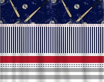 Baseball Classic Red-White-Navy-Grey Shower Curtain - Stripes, Stitches, Balls and Bats, Baseball Theme Bath