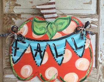 Fall Door Hanger - Pumpkin Door Hanger - Personalized Door Hanger - Fall Wreath- Fall Decor - fall Decorations - Halloween Sign