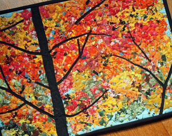 Quilted Art Wall Hanging Fiber Art Landscape of Autumn Leaves Fall Scene Confetti Technique mini quilt, orange, rust, yellow, gold, handmade